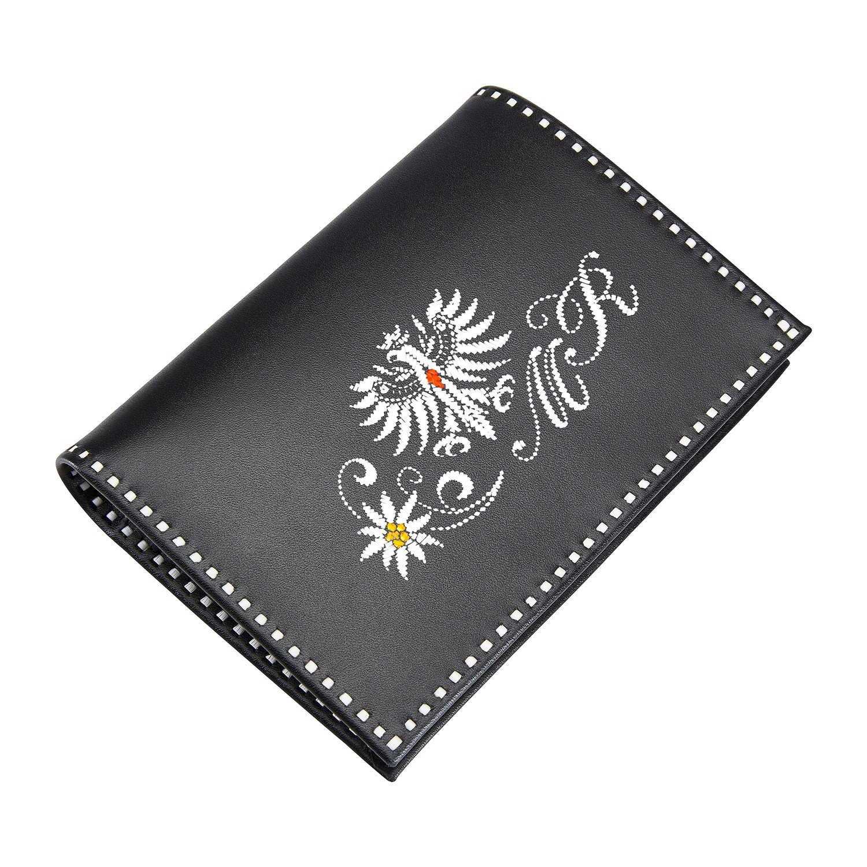 Sarner Geldtasche mit Tiroler Adler, Edelweiss und Initialen