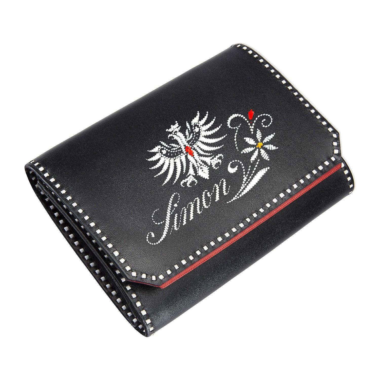 Sarner Geldtasche mit Tiroler Adler, Blume und Name